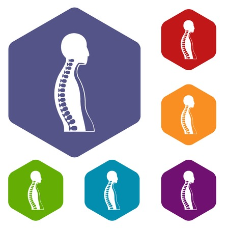 Human spine icons set hexagon isolated illustration