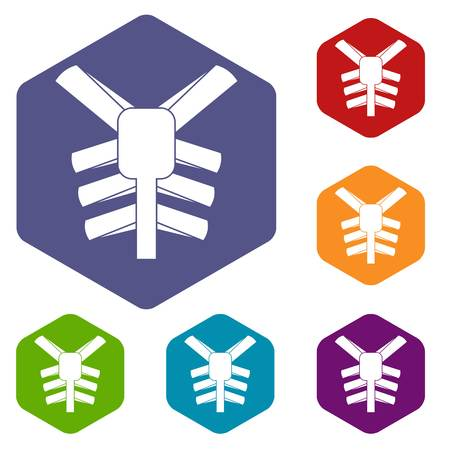 Human thorax icons set hexagon isolated illustration