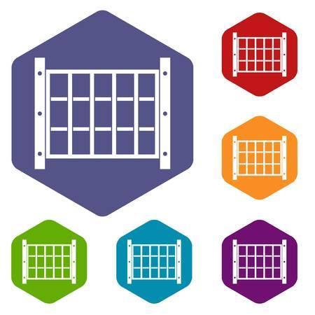 Yard fence icons set hexagon isolated illustration