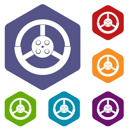 Steering wheel icons set hexagon isolated illustration