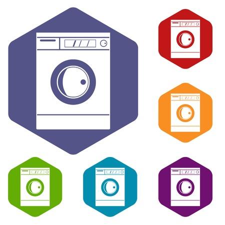Washing machine icons set hexagon isolated illustration