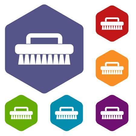 Cleaning brush icons set hexagon isolated illustration Stock Photo