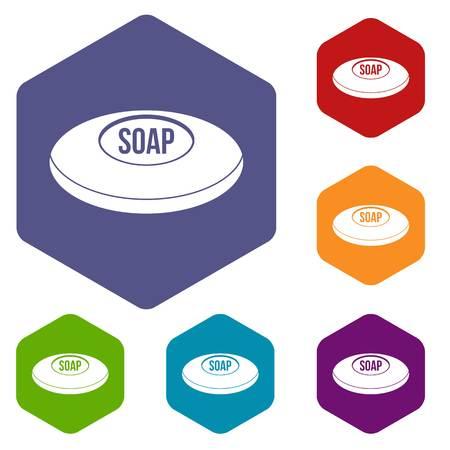 Soap icons set hexagon isolated illustration Stock Photo