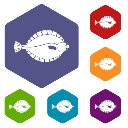 Flounder icons set hexagon isolated illustration
