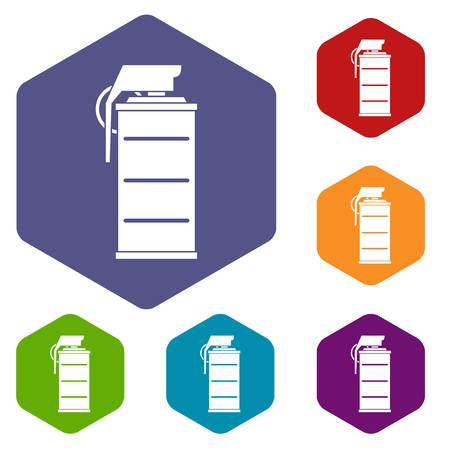Stun grenade icons set hexagon isolated illustration