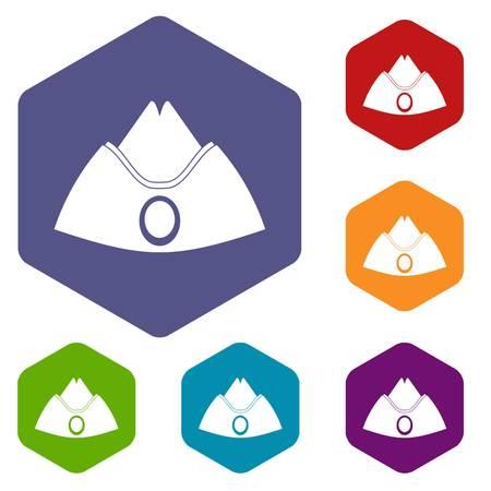 Forage cap icons set hexagon isolated illustration Stok Fotoğraf