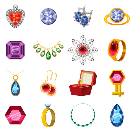 Jewelry collection icons set. Cartoon illustration of 16 jewelry collection items icons for web