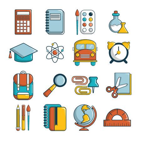 School education icons set. Cartoon illustration of 16 school education icons for web