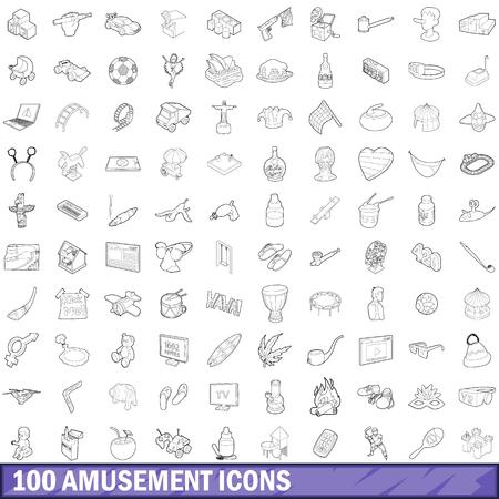 在概述样式设置的100个娱乐图标为任何设计插图
