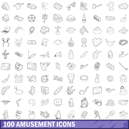 100 amusement icons set in outline style for any design illustration Stock Photo