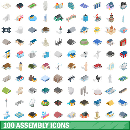 100 assembly icons set in isometric 3d style for any design illustration