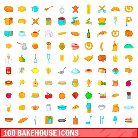 100 bakehouse icons set in cartoon style for any design illustration