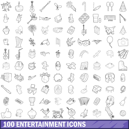 100 entertainment icons set in outline style for any design illustration Stock Photo