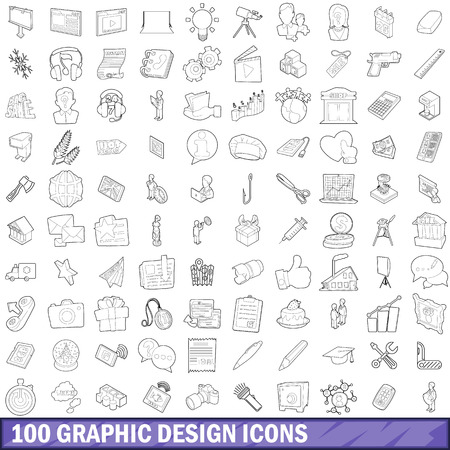 100 graphic design icons set in outline style for any design illustration Stock Photo