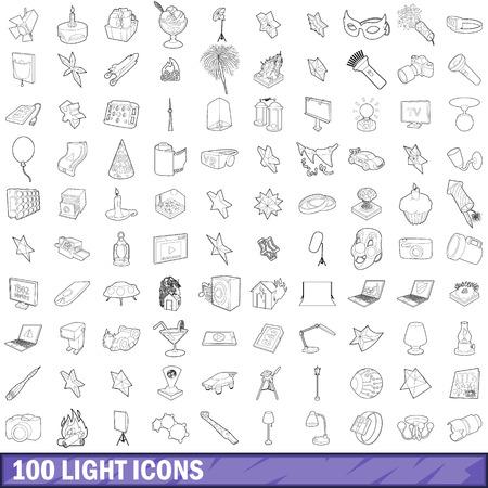 100 light icons set in outline style for any design illustration Imagens
