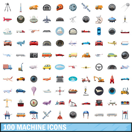 100 machine icons set in cartoon style for any design illustration Banco de Imagens