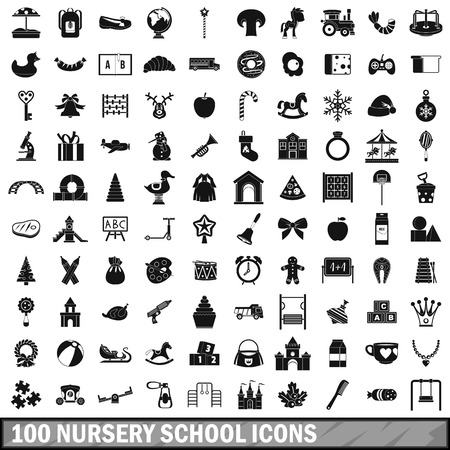 100 nursery school icons set in simple style for any design illustration Stock fotó