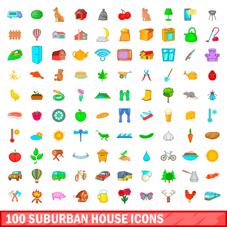 100 suburban house icons set in cartoon style for any design illustration Stock Photo