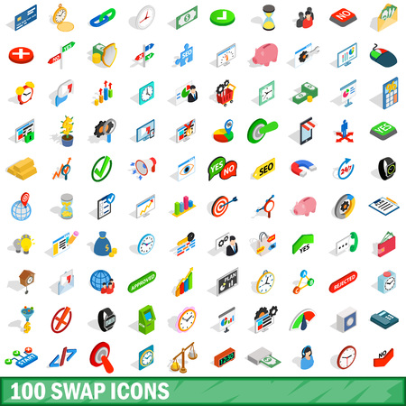 100 swap icons set in isometric 3d style for any design illustration Stock Photo