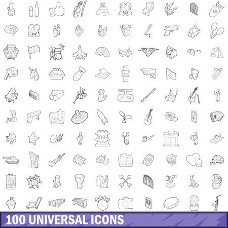 100个通用图标设置在轮廓风格的任何设计插图