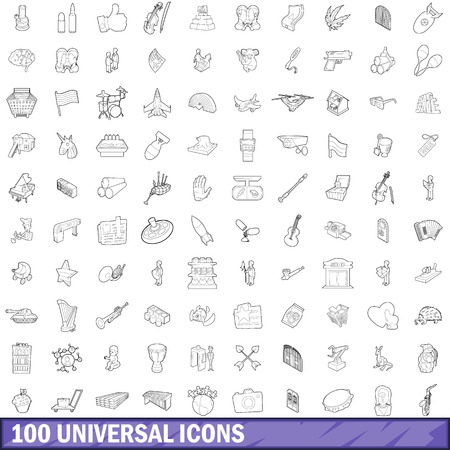 100 universal icons set in outline style for any design illustration