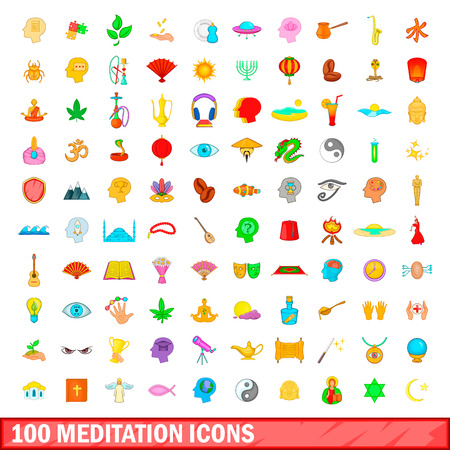 100 meditation icons set in cartoon style for any design illustration