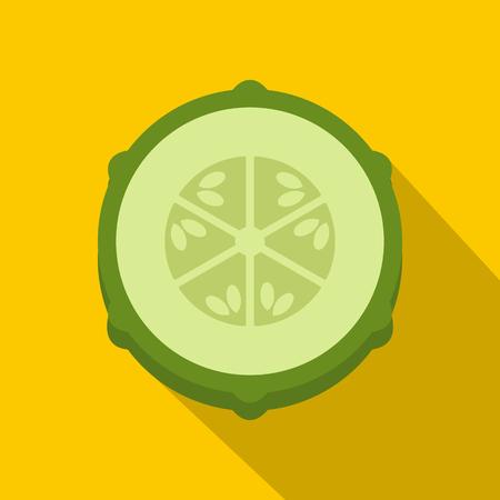 Slice of fresh cucumber icon. Flat illustration of slice of fresh cucumber icon for web on yellow background Stock Photo