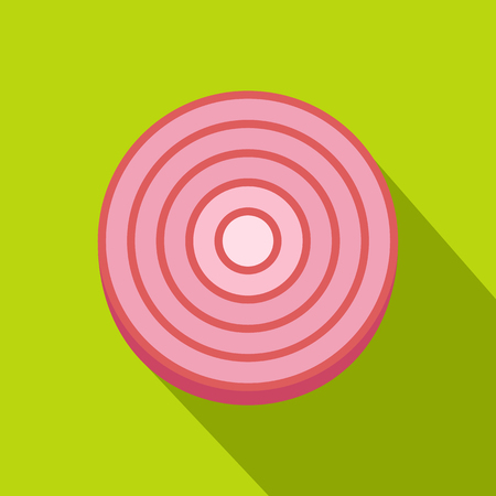 Slice of sweet red onion icon. Flat illustration of slice of sweet red onion icon for web on lime background