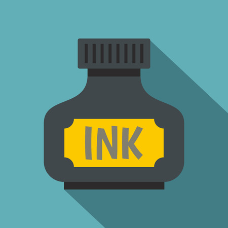 Black ink bottle icon. Flat illustration of black ink bottle icon for web on baby blue background
