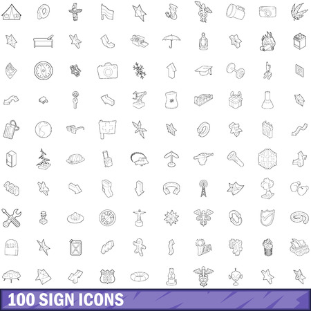 100 sign icons set in outline style for any design illustration