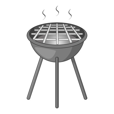 BBQ grill with fire icon in monochrome style isolated on white background illustration Stock Photo