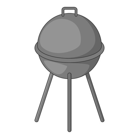 Kettle barbecue grill with cover icon in monochrome style isolated on white background illustration Stock Photo