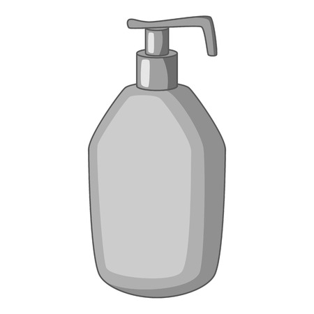 Bottle with liquid soap icon in monochrome style isolated on white background illustration