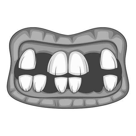 Zombie teeth icon in monochrome style isolated on white background illustration