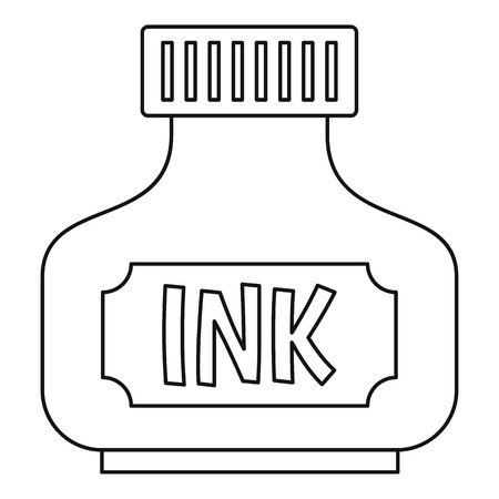 Black ink bottle icon in outline style isolated illustration 写真素材