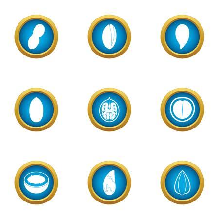 Useful nut icons set. Flat set of 9 useful nut vector icons for web isolated on white background