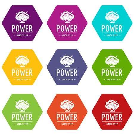 Powerful icons set 9 vector