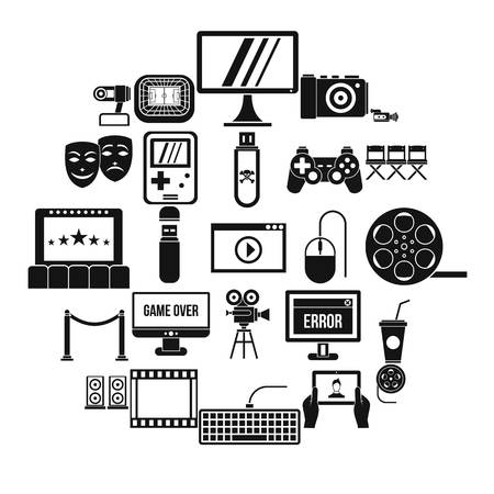 Interesting show icons set. Simple set of 25 interesting show vector icons for web isolated on white background