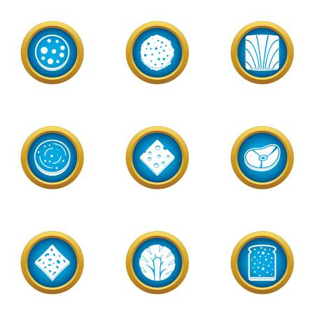 Component for burger icons set. Flat set of 9 component for burger vector icons for web isolated on white background