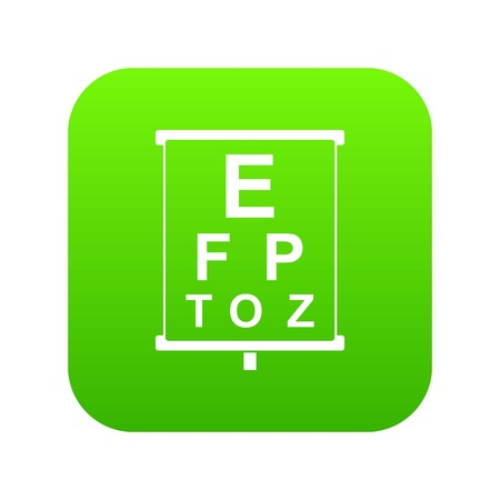 White placard with letters eyesight testing icon digital green for any design isolated on white vector illustration