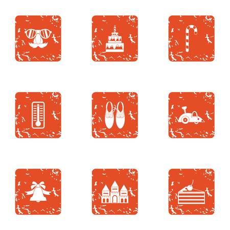 Cream sugar icons set. Grunge set of 9 cream sugar vector icons for web isolated on white background