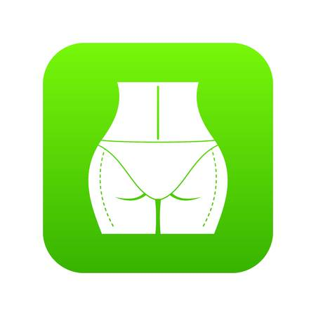 Woman buttocks prepared to plastic surgery icon digital green