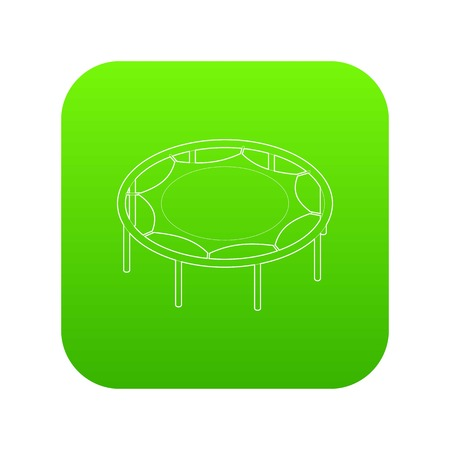 Trampoline jumping icon green vector isolated on white background Illustration