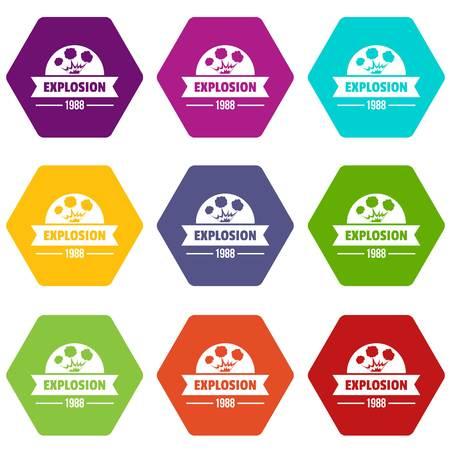 Danger explosion icons set 9 vector