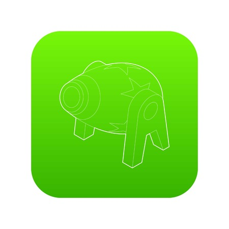 Circus cannon icon green vector isolated on white background Ilustrace
