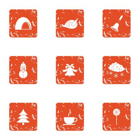 Country weekend icons set. Grunge set of 9 country weekend vector icons for web isolated on white background