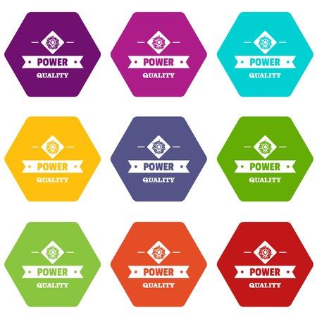 Power quality icons set 9 vector Çizim