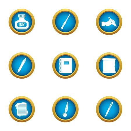 Inkpot icons set. Flat set of 9 inkpot vector icons for web isolated on white background
