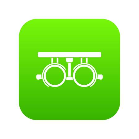 Trial frame for checking patient vision icon digital green for any design isolated on white vector illustration