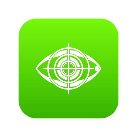 Eye and target icon digital green for any design isolated on white vector illustration